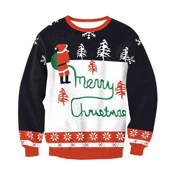 Winter Men Women Sweater Clothes Santa Xmas Ugly Christmas Sweater Novelty Warm Jumper Pullover Ladies Tops pull femme