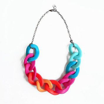 Neon Chain Statement Necklace Polymer Clay Necklace Oversized Chain Link Necklace