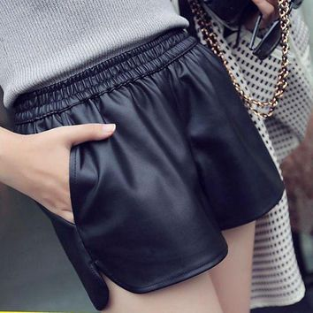 ESBON New Fashion High Waist Elastic Women Shorts PU Leather Black Short Pants With Pocket Loose Casual Shorts Big Sizes