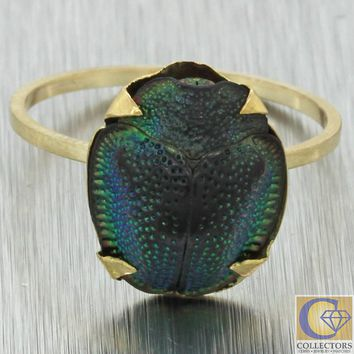 1880s Antique Victorian 14k Yellow Gold Egyptian Beetle Scarab Cocktail Ring