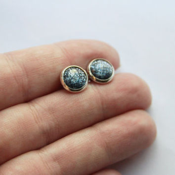 NEW - SMALL Faceted Gray-Blue/Black Ombre Glitter Earrings - Posts/Studs 8mm SMALL