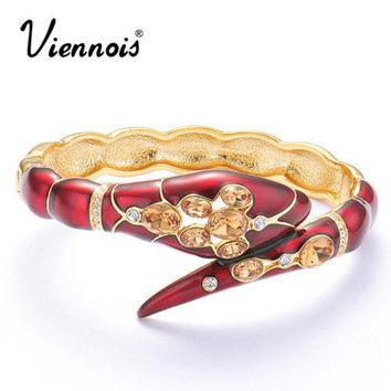 DCCKHN1 Viennois Fashion Gold Plated Crystal Rhinestone Red Sexy Snake Bracelet Bangle For Women