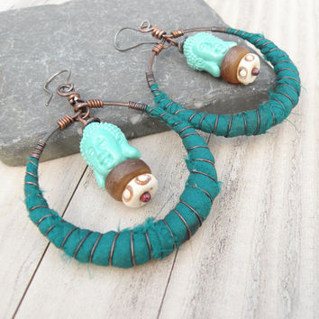 Tribal Gypsy Hoop Earrings,Silk Wrapped, Rustic, Handmade Buddha Earrings, Teal