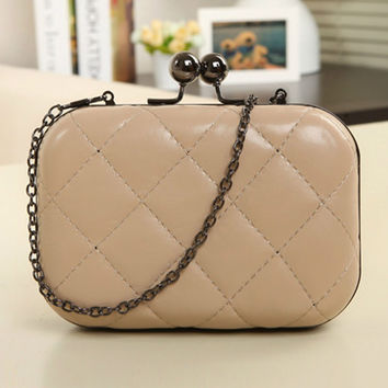 Casual Quilted Chain Evening Clutch Bag