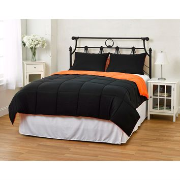King/CAL King size 3-Piece Orange/Black Microfiber Comforter Set with 2 Shams