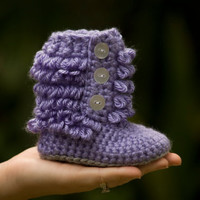 Baby Booties, Tall Furry boot, shoe, slipper, Purple, 6 months- 12 months, one year