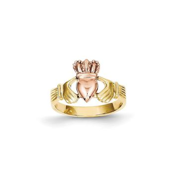 14k Two-tone Gold Polished Claddagh Ring
