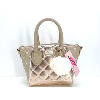 Luv Betsey Betsey Johnson Rose Gold Crossbody With Pom Pom Accent