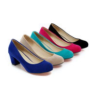 5 Colors Chunky Heel Pumps Platform High Heels Women Shoes 6639