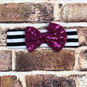 RTS Black and White Striped Headband W/ Purple Bow