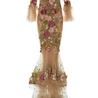 Tulle Off the Shoulder Floral Embroidered Gown | Moda Operandi