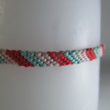 Mermaid Inspired Candy-Cane Friendship Bracelet