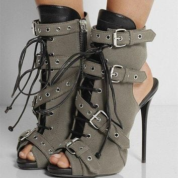 Canvas Hasp Straps Stiletto Heel Peep-toe Ankle Boot High Heel Sandals