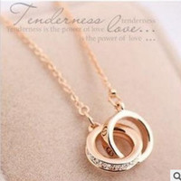 double circle necklaces for women rose gold plated with Austrian Crystal Valentine's Day gifts = 1668753348