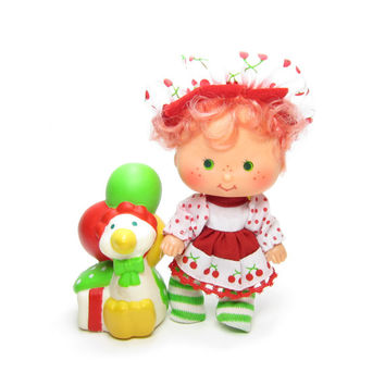 Cherry Cuddler Party Pleaser Doll Vintage Strawberry Shortcake with Gooseberry Pet