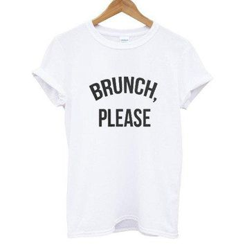 BRUNCH PLEASE Letters Print Women tshirt Cotton Casual Funny t shirt For Lady Top Tee Hipster Drop Ship Z-632