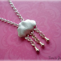 Rain Cloud Necklace - Silver Plated, Simple Everyday Style