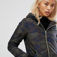 Noisy May Exclusive Camo Padded Jacket With Hood at asos.com