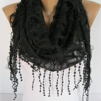 Elegant  Black  Scarf - Cowl with Lace Edge - gift Ideas For Her Women's Scarves- gift- for her -Fashion accessories