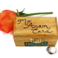 Wedding Accessories. Scottish Wedding Ring Bearer Box with a wood burned Gaelic endearment.