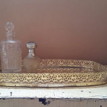 Vintage Gold Filigree Ovaled Rectangle Mirrored Vanity Tray