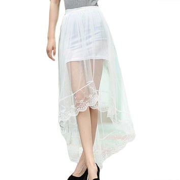 Women Tulle Skirt Maxi Mesh Dovetail + Mini Pencil Splicing Skirts 2017 Fashion Lace Skirt Vantage Girl Saia Jupe Faldas Femme