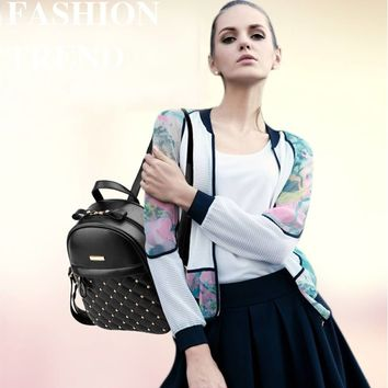 Hot Sale Fashion Causal bags High Quality Bead Female PU Leather Backpack For Girl