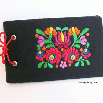 Vintage Embroidered Textile Photo Album / Book, Hungarian Handmade Folk Art, Black / Colorful Floral