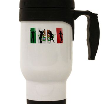 Mexican Flag - Dancing Silhouettes Stainless Steel 14oz Travel Mug by TooLoud