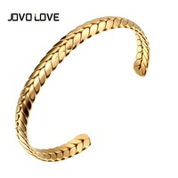 JOVO Unique Stainless Steel Bracelets & Bangle Luxury Open Cuff Love Bracelets for Women Engagement Gift Promotion