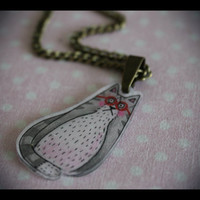Grey tabby cat wearing red spectacles hand-drawn illustrated art shrink plastic pendant necklace
