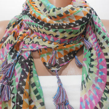 Boho Tribal Multicolor Scarf Shawl, Aztec Cowl Scarf with Fringe Edge, Bohemian Women's Fashion Accessory, Gift For Mom For Her, Scarfclub