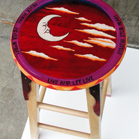 Whimsical Painted Wood Stool Functional Art