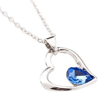 Crystal Pendant Necklace Blue