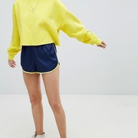 Reclaimed Vintage Inspired Satin Retro Mini Shorts With Trim at asos.com