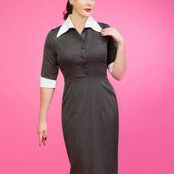 TARA 50s Pencil Dress With Contrast Collar - Custom Sizing
