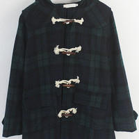 Plaid Hooded Horn Button Coat with Pocket