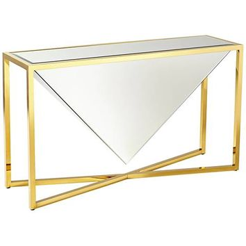 Titan Sculptural Mirror-Glass Brass Console Table - #1T578 | Lamps Plus