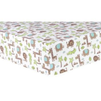 Sage Safari Animals Deluxe Flannel Fitted Crib Sheet