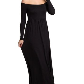 Off Shoulder High Waist Solid Maxi Dress