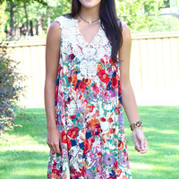 Away with Me Floral + Lace Dress {Red Mix}