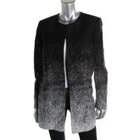 Vince Camuto Womens Ribbed Knit Fading Detail Collarless Blazer
