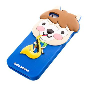 Apple iPhone 5 & 5s Silicone Skin Case Cover Protector (Alpaca's Saxophone BLUE)