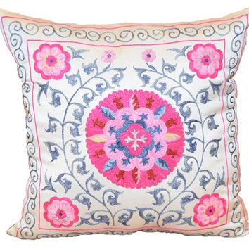 Handmade Suzani Silk Pillow Cover EMP138, Suzani Pillow, Uzbek Suzani, Suzani Throw, Suzani, Decorative pillows, Accent pillows