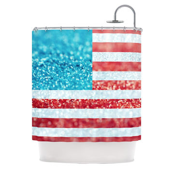 "Beth Engel ""Red White and Glitter"" Flag Shower Curtain"