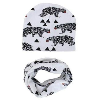 ESBONJ Toddlers Children Caps Scarves Set Winter Autumn Baby Hat knitted Girl Boy Cap Cotton Scarf