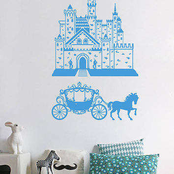 kik939 Wall Decal Sticker Castle Princess Cinderella carriage horses children's room