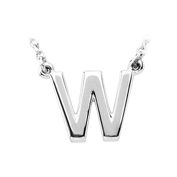 Block initial Necklace in 14k White Gold, Letter W