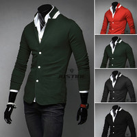 Fashion Men Slim Fit Tunic Casual Blazer