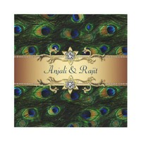 Emerald Green Gold Royal Indian Peacock Wedding Personalized Invites from Zazzle.com